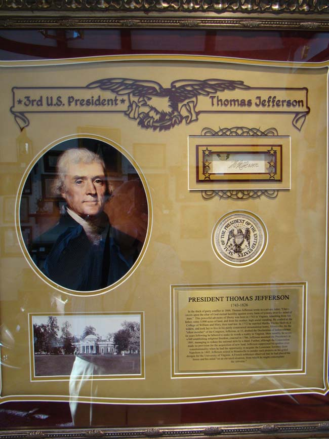 click to view larger image of An attractive framed THOMAS JEFFERSON grouping including his original signature circa 1800