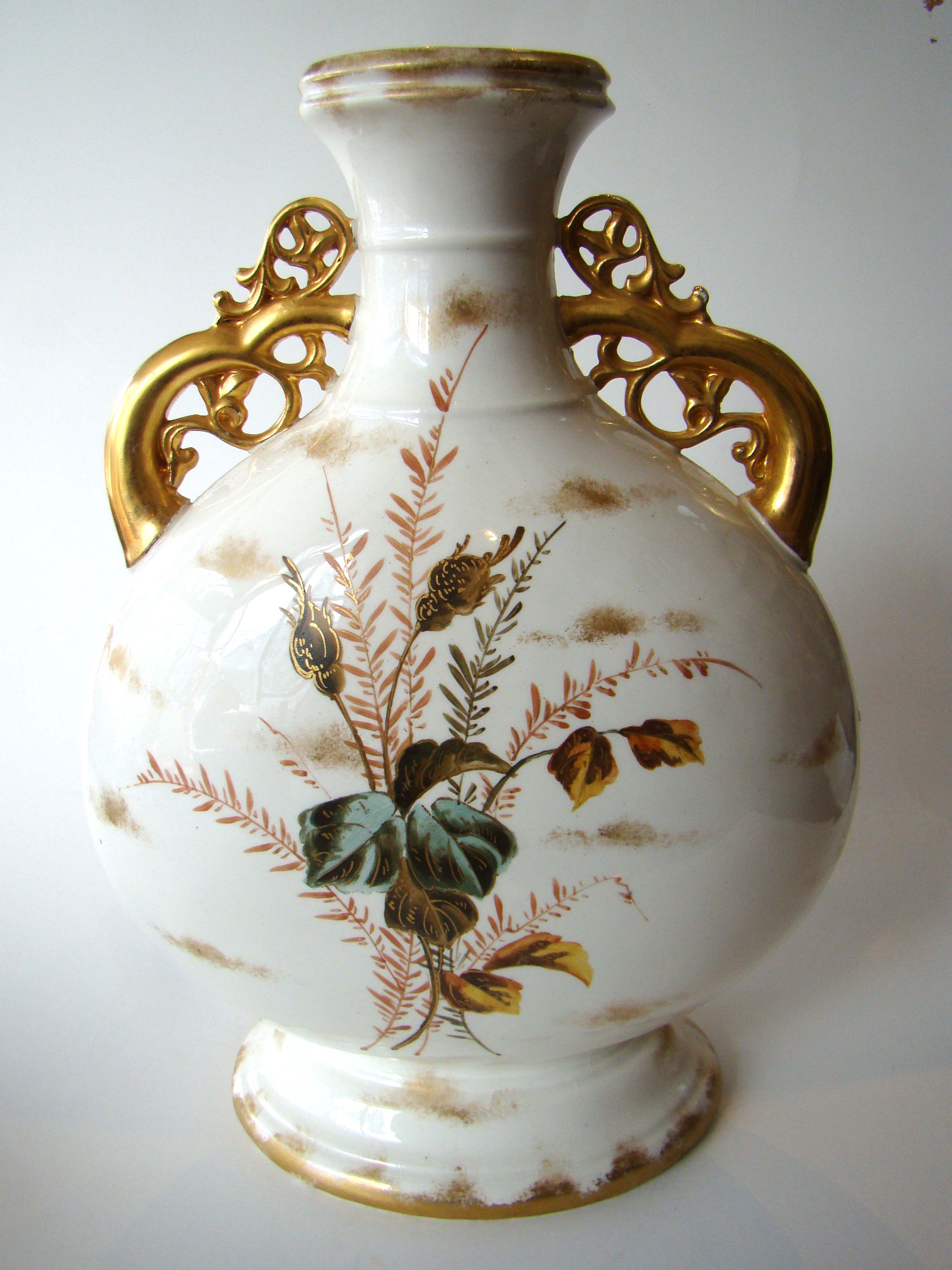click to view larger image of A magnificent hand painted vintage two-handled vase circa 1880-1900