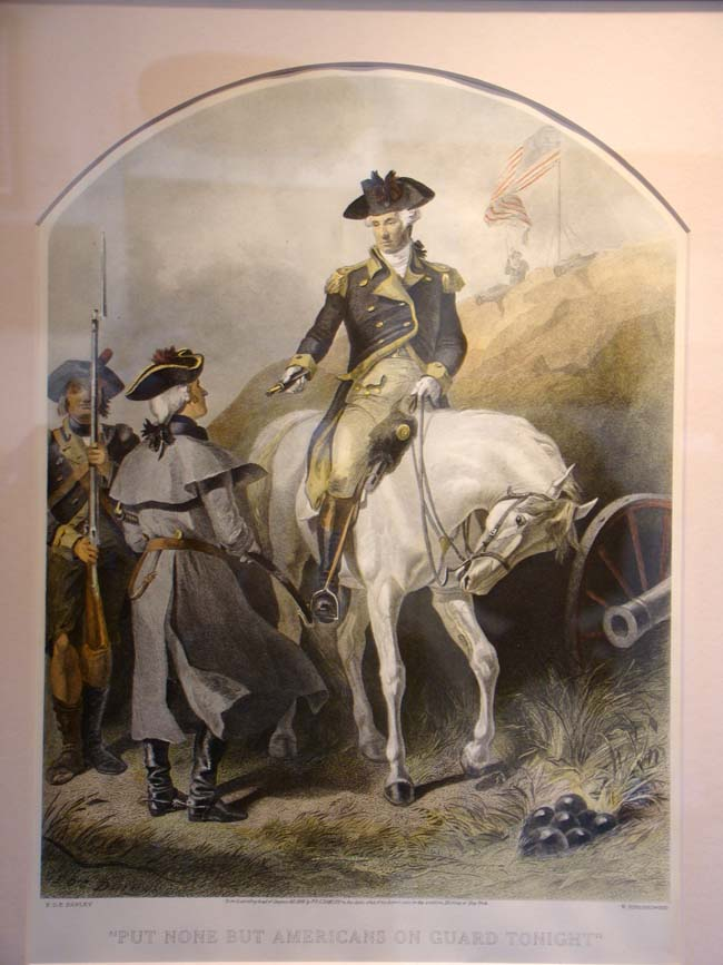 click to view larger image of A hand colored engraving of George Washington saying