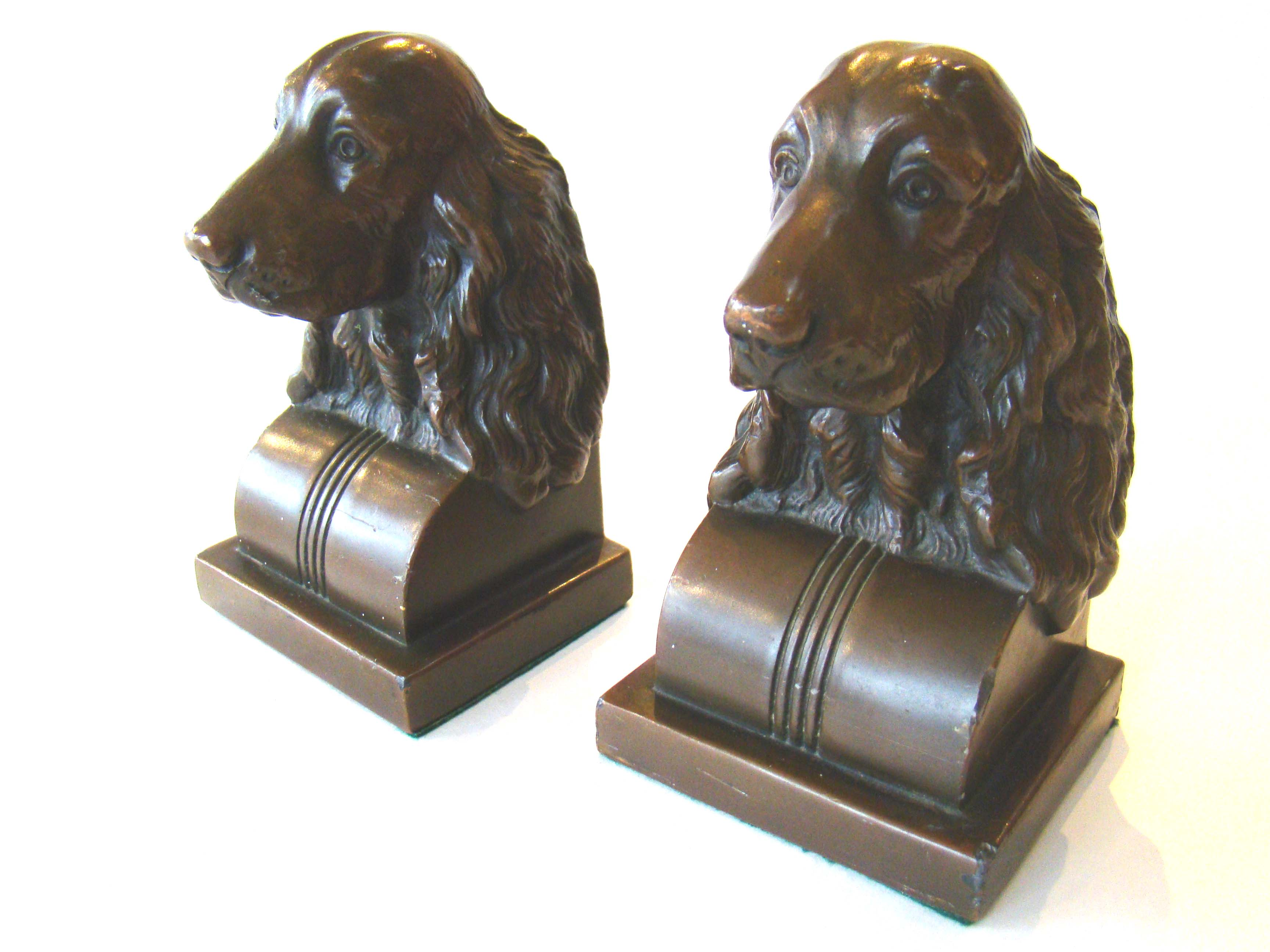 click to view larger image of A pair of vintage Spaniel bookends by Jennings Brothers circa 1935