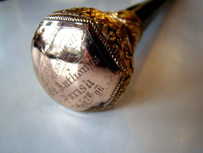 click to view larger image of A fine Antique Gold Knobbed cane with ebony shaft and presentation inscription