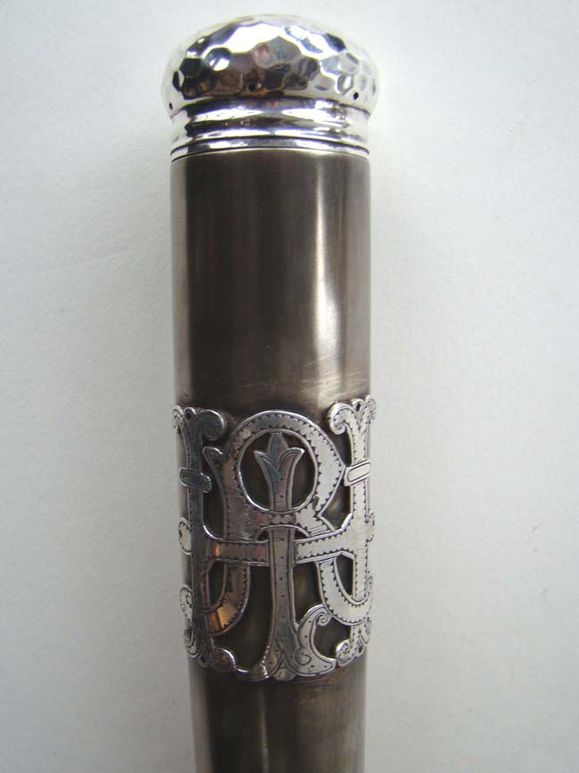 click to view larger image of A FABULOUS Silver mounted Walking Stick containing a complete carved wooden chess set and fold up chess board circa 1900.