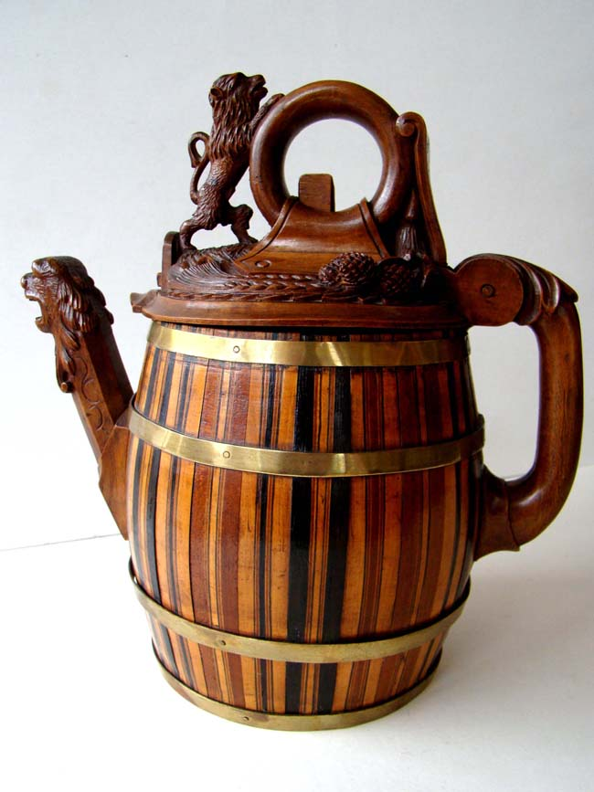 click to view larger image of A RARE Northern European Carved Wooden Beer Jug circa 1800-1820
