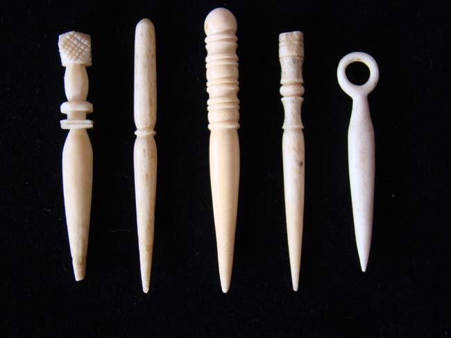 click to view larger image of A group of five 19th century whalebone bodkins