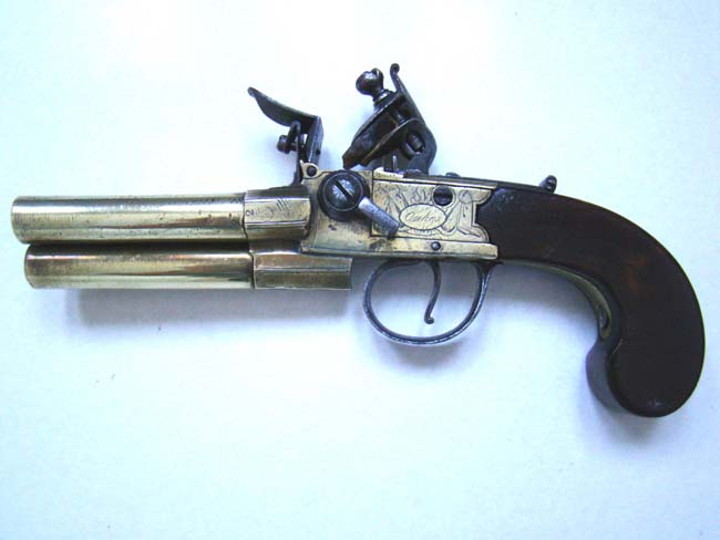 click to view larger image of A RARE and possibly UNIQUE English Three-barrel Boxlock Flintlock Pistol by Samuel Oakes of London circa 1770