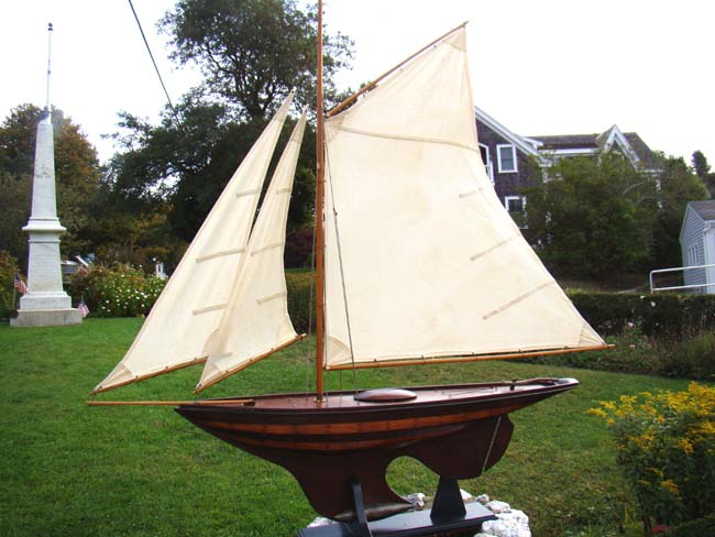 click to view larger image of A large plank-on frame NANTUCKET Sloop Pond Boat from the 1940's