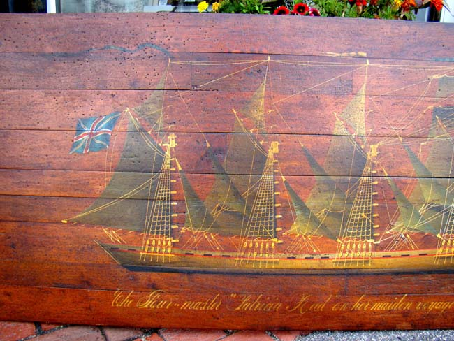 click to view larger image of A hand painted panel depicting the British four-masted ship