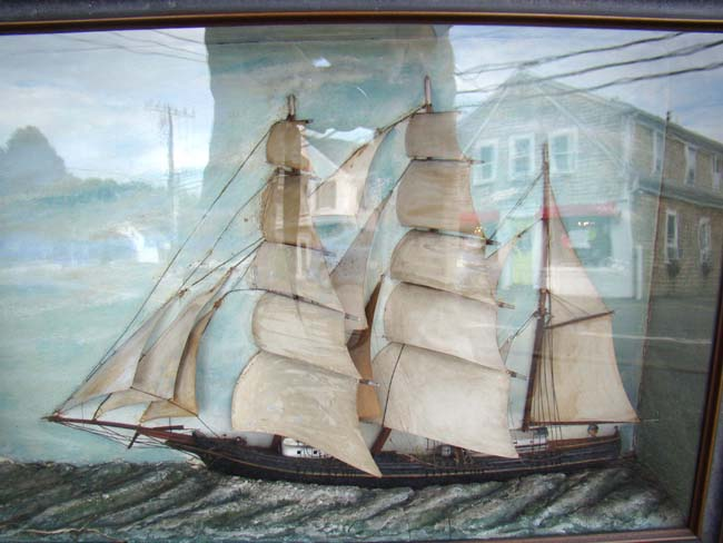 click to view larger image of A 19th century Diorama of a three-masted ship circa 1860-1880