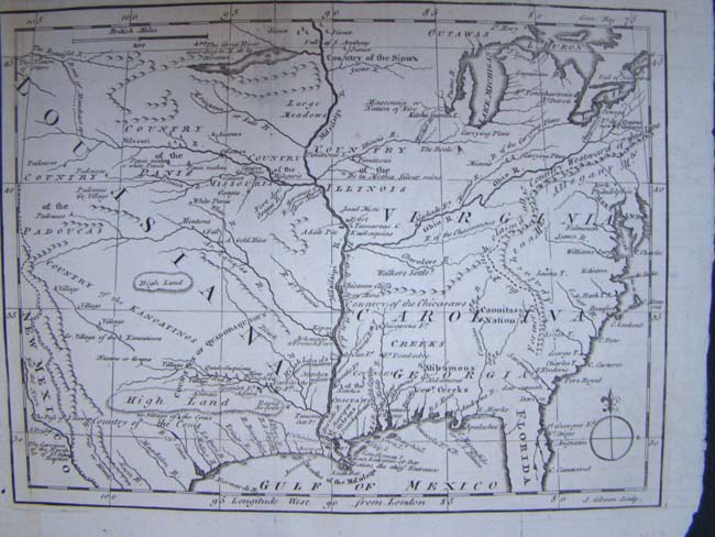 click to view larger image of An 18th century Map showing the Louisiana Territory, The Carolinas, Virginia and the Great Lakes region circa 1763.