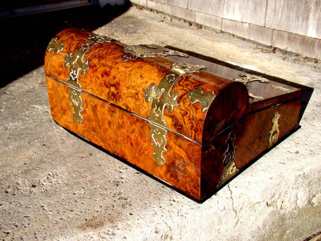 click to view larger image of An English Victorian brass mounted burl walnut writing box circa 1870