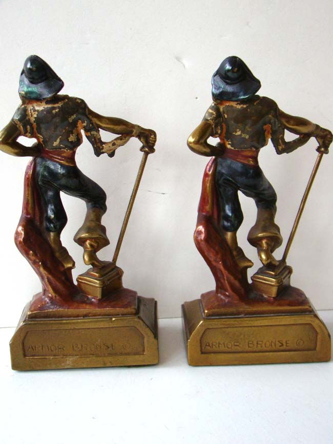 A pair of swashbuckler pirate bookends made by armor bronze company in 1926 antique bookends - Armor bronze bookends ...