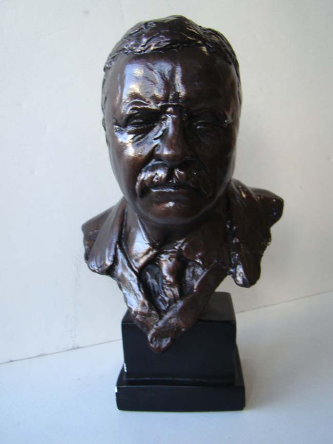 click to view larger image of A fine bronzed bust of President Theodore Roosevelt, our 26th President from 1901-1909
