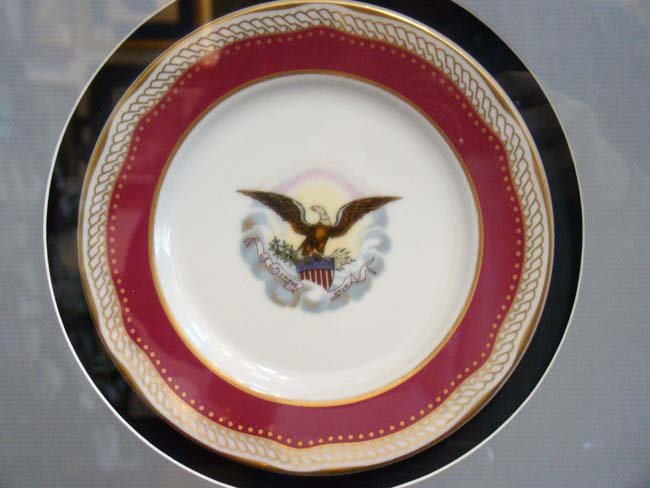 click to view larger image of A beautifully framed Limited Edition reproduction dessert plate from Abraham Lincoln's White House Dinner Service