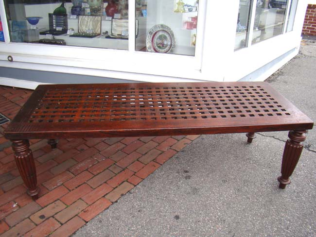 click to view larger image of A fine 19th century table or bench made from ship's deck grating circa 1840
