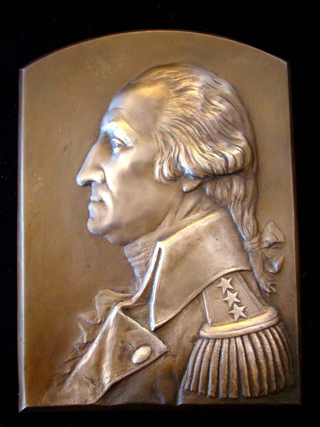 click to view larger image of A magnificent antique bronze plaque depicting General George Washington by Luini Costanzo