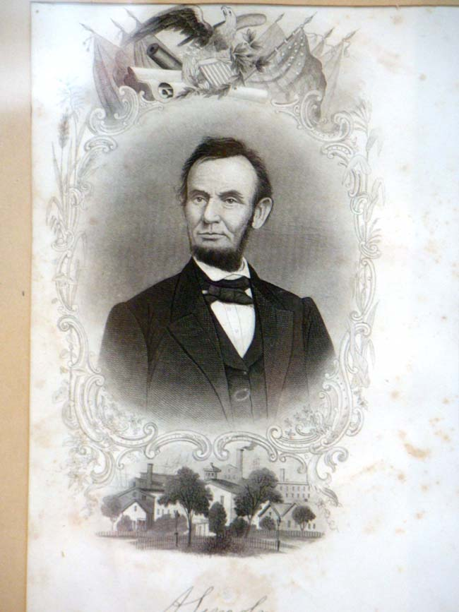 click to view larger image of A 19th century engraving of President Abraham Lincoln in its' original frame circa 1865