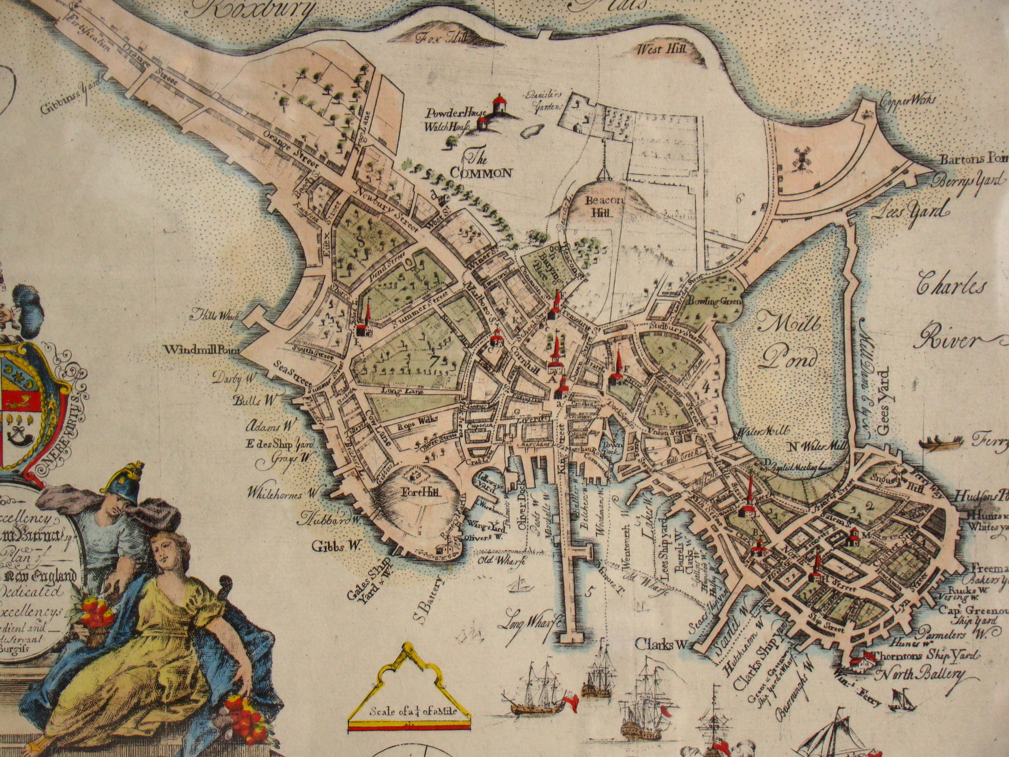 click to view larger image of A fine reproduction Map of Boston engraved by Thomas Johnson in 1728 and reprinted in 1951