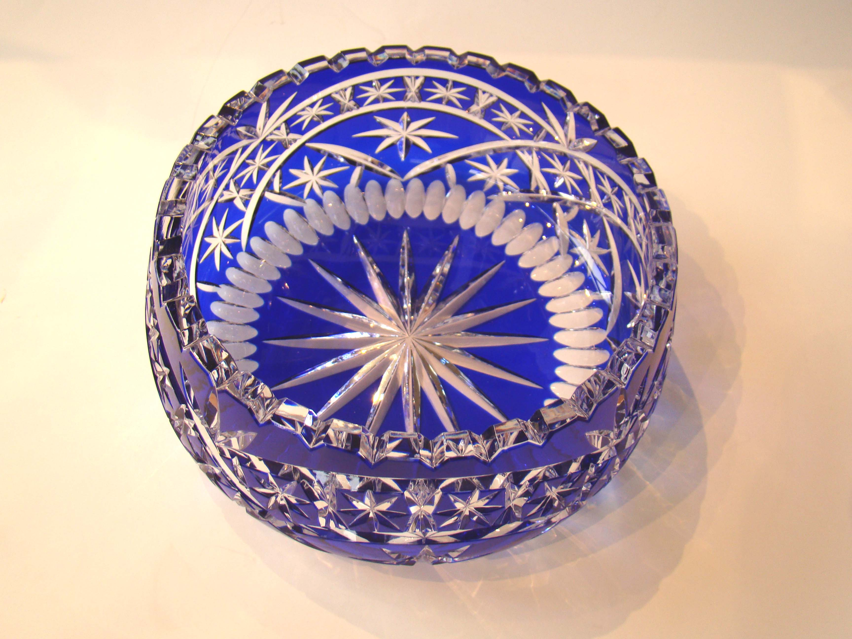click to view larger image of A stunningly beautiful cobalt cut to clear glass bowl.