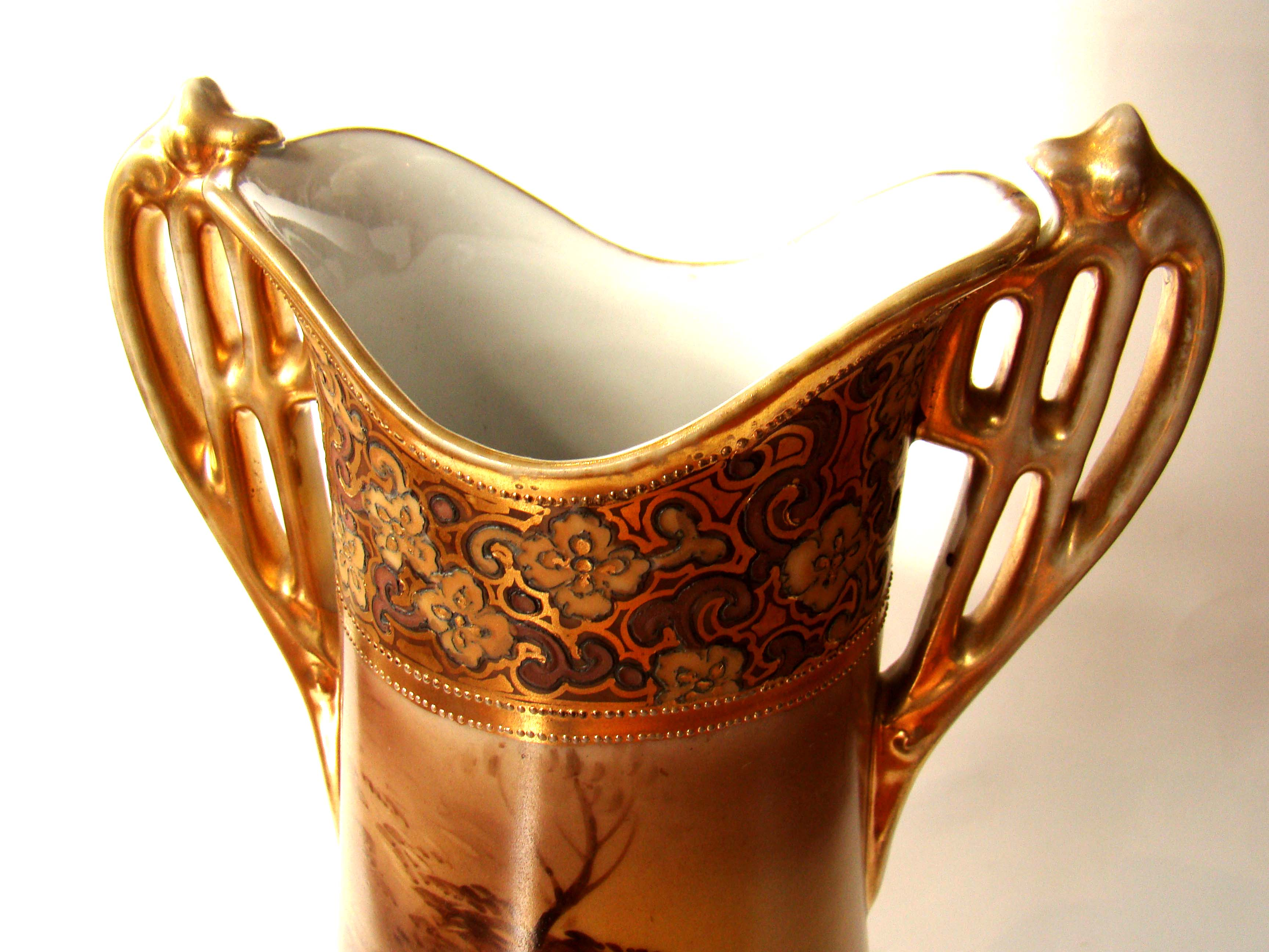 click to view larger image of A fabulous vintage hand painted NIPPON two handled vase with gilt decoration circa 1900