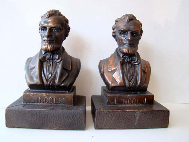 click to view larger image of A pair of Lincoln bookends circa 1935
