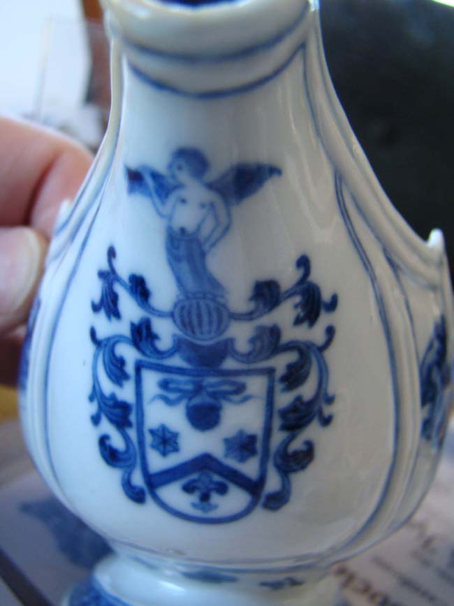 click to view larger image of A Chinese Export Porcelain Armorial Sauce Boat circa 1765