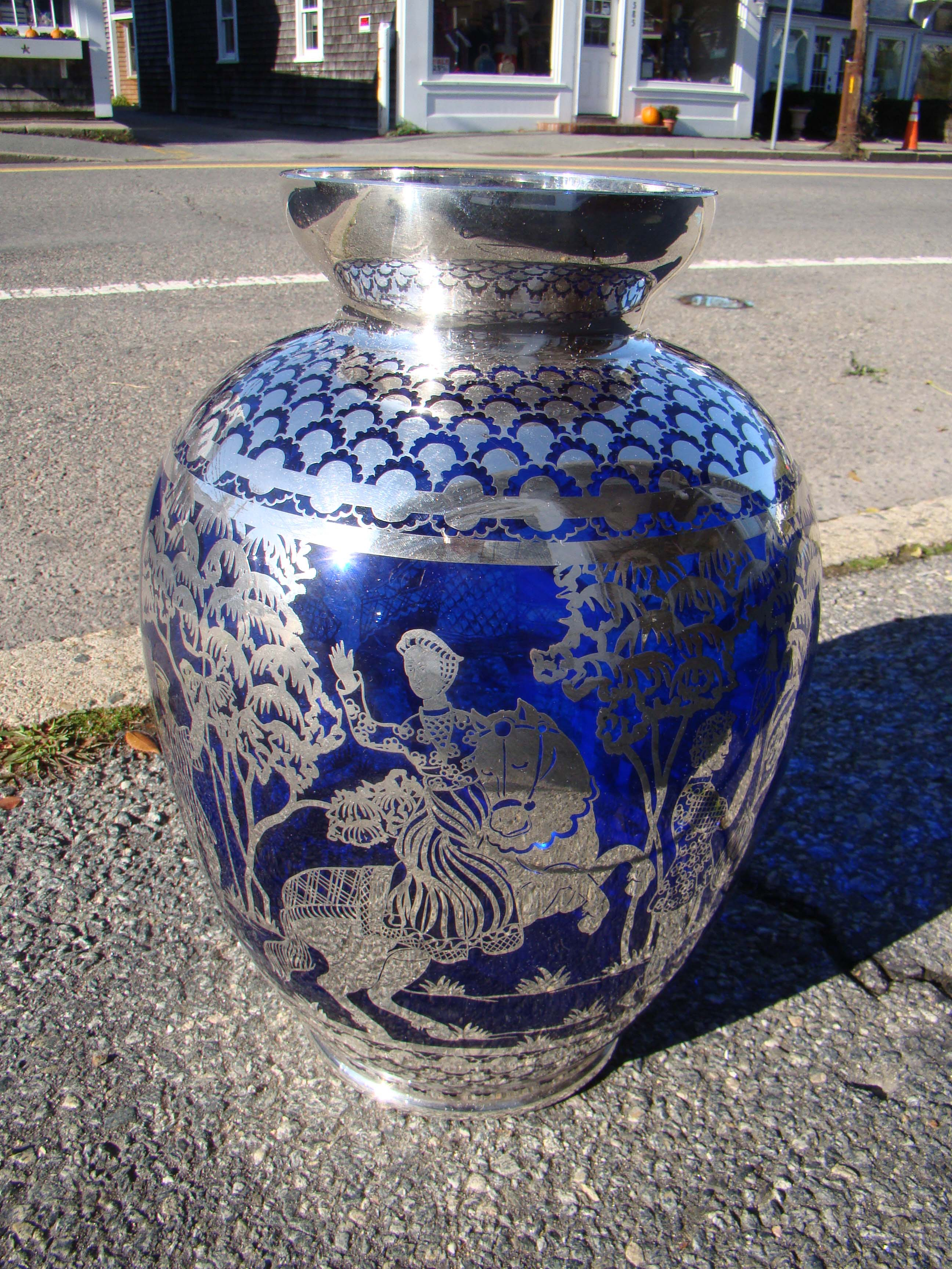 click to view larger image of A SPECTACULAR vintage cobalt blue with  silver overlay vase depicting