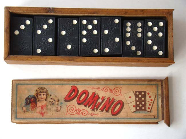 click to view larger image of A nice set of Dominoes in their original labeled box circa 1900