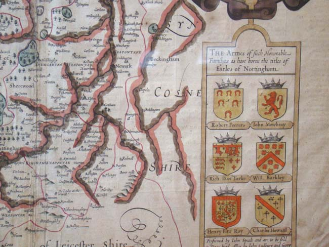 click to view larger image of A beautiful hand colored Map of Nottingham by John Speed circa 1610