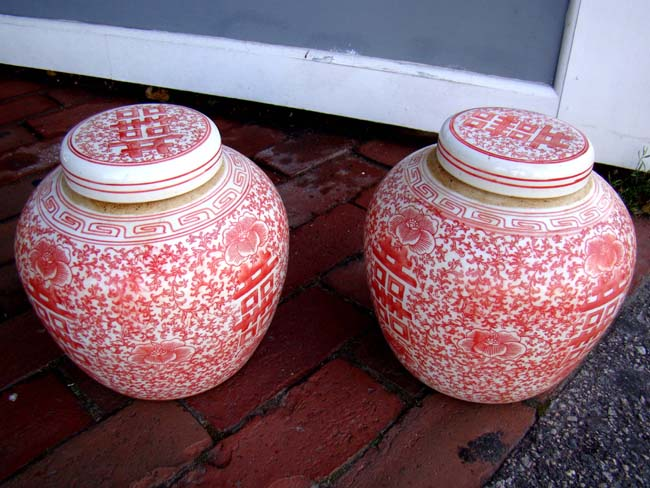 click to view larger image of A fine pair of salmon colored Chinese Ginger Jars, 20th century