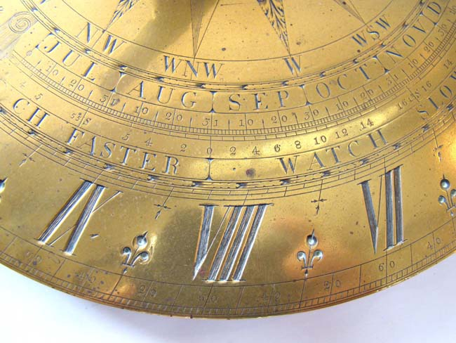 click to view larger image of An Important engraved brass Sundial by George Adams, Maker to His Royal Highness, circa 1760.