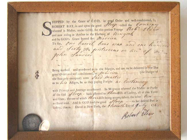 click to view larger image of An 18th century Bill of Lading for the Sloop 'Conway' loaded with silver coins dated July 11, 1768