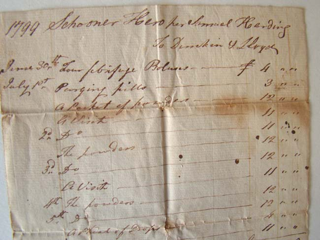 click to view larger image of A group of four maritime shipping documents issued to Capt. Samuel Harding between 1799 and 1810.