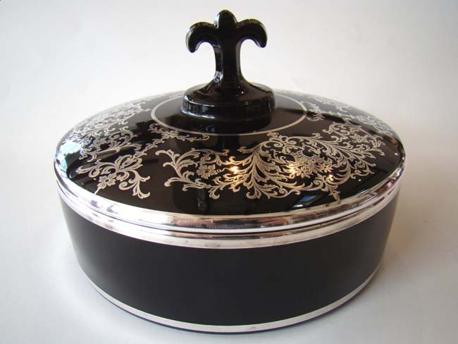click to view larger image of A stunning vintage silver overlay black glass candy dish circa 1910