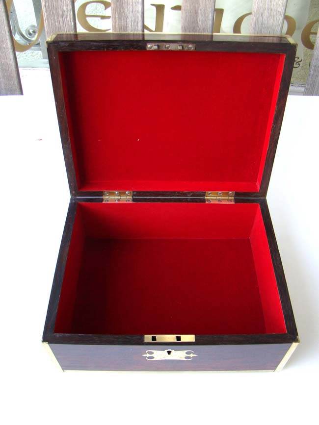 click to view larger image of A fine early 19th century English brass bound rosewood dressing box circa 1810-1830