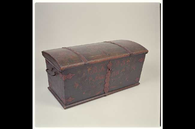 click to view larger image of Scandinavian Marriage Trunk dated 1787