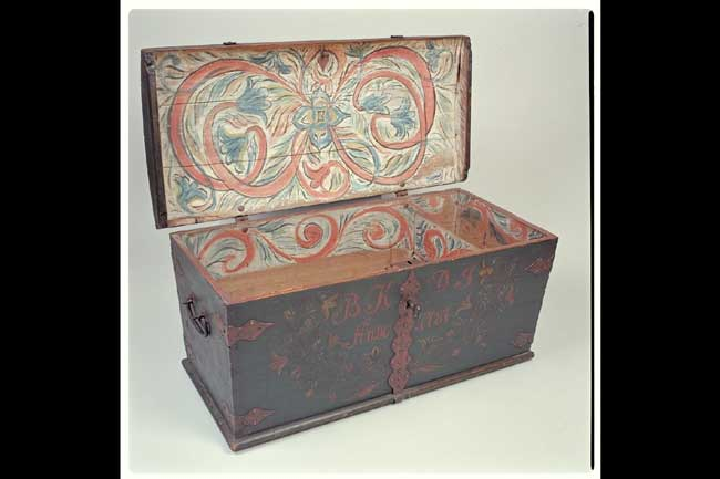 click to view larger image of Scandinavian Marriage Trunk dated 1787 - Scandinavian Marriage Trunk Dated 1787|Antique Furniture, Folk Art