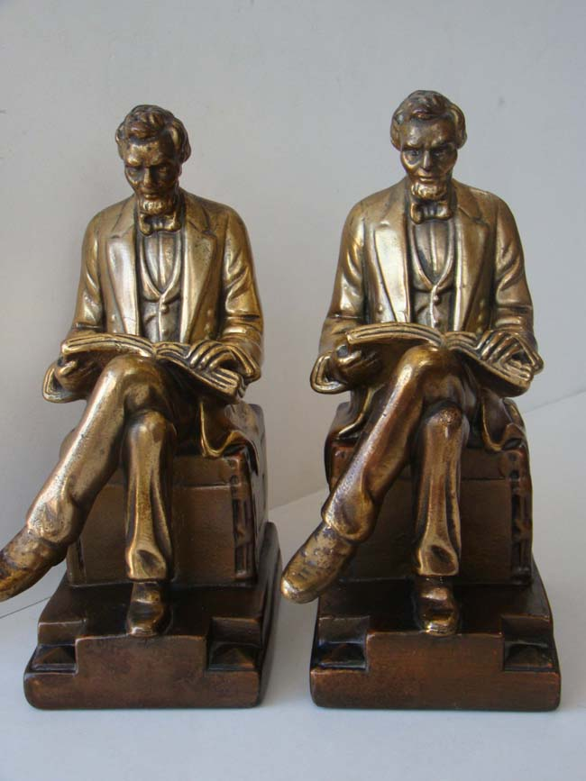 click to view larger image of A fine and rare pair of Lincoln bookends by the Galvano Bronze Company circa 1918