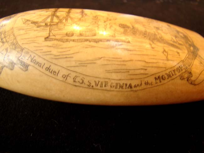 click to view larger image of A fine late 19th or early 20th century scrimshawed whale's tooth with Civil War naval battle