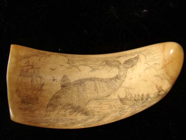click to view larger image of A late 19th or early 20th century Whale's tooth with whaling scene
