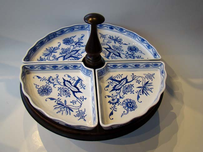 click to view larger image of A beautiful vintage Villeroy & Boch Lazy Susan with four Dresden Saxony Blue Onion Trays circa 1909