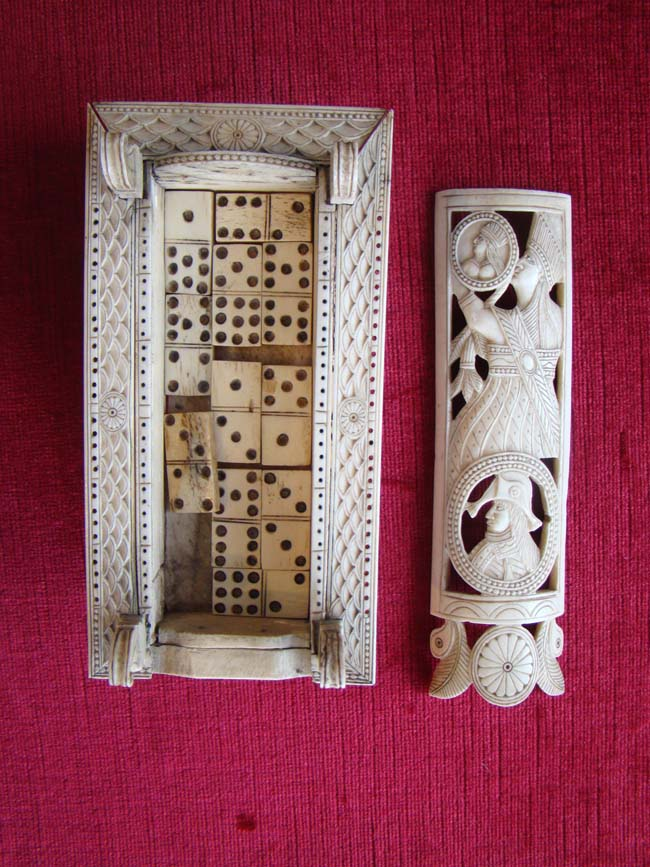 click to view larger image of One of the finest Napoleonic Prisoner-of-War bone game boxes (circa 1810) in existence