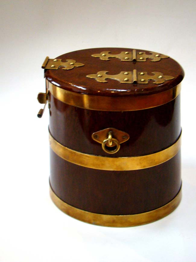 click to view larger image of A magnificent 19th century miniature brass mounted walnut Royal Navy rum barrel circa 1860
