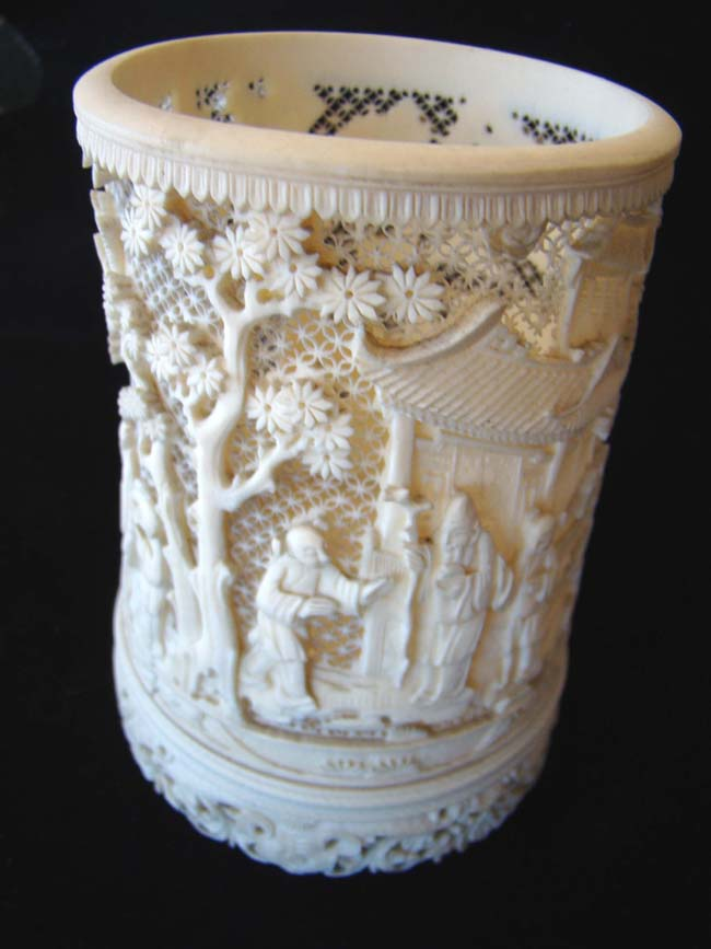 click to view larger image of An amazing 19th century Chinese carved elephant ivory cup.