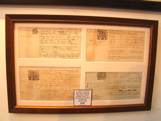 click to view larger image of A framed grouping of four Bills of Lading for the Brig Orion, Capt. Samuel Harding, February 1810