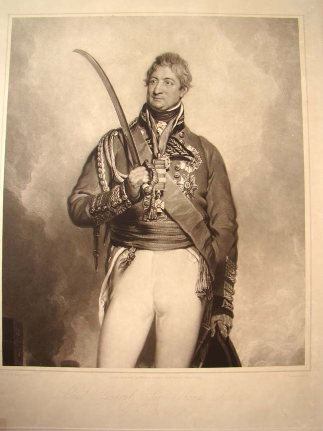 click to view larger image of A mezzotint engraving printed in 1843 of Lt. Gen. Sir Thomas Picton, killed at the Battle of Waterlo