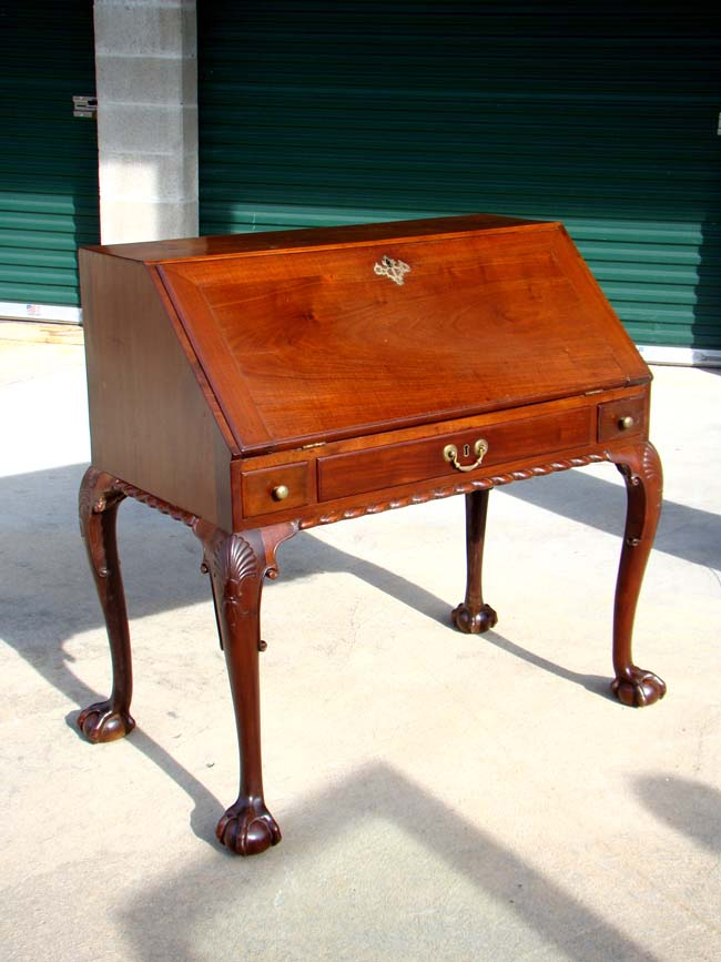 click to view larger image of An 18th century Irish mahogany slant-front  desk on - An 18th Century Irish Mahogany Slant-front Desk On Cabriole Legs