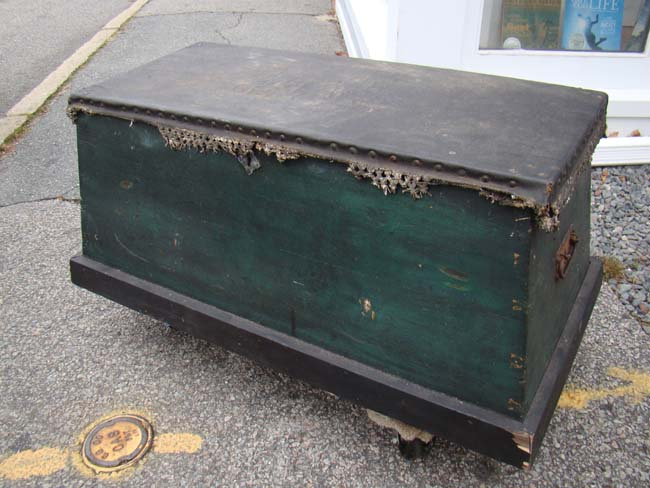 click to view larger image of A 19th century Sea Chest with fabulous painted interior