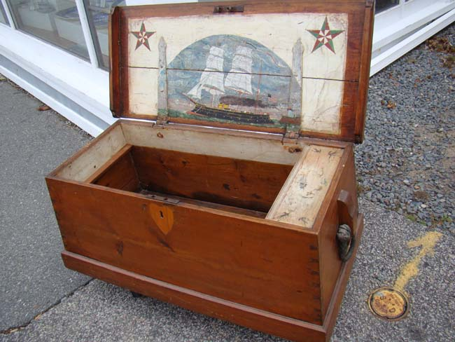 click to view larger image of A fine 19th century Sailor's Chest with attractive interior and original ropework beckets circa 1850