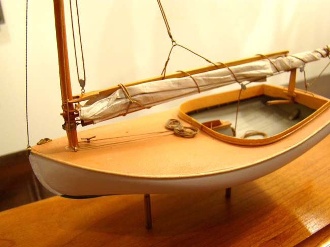 click to view larger image of A contemporary scratch built model of a Beetle Catboat in 1:24 scale by Cape Cod model builder Tom Lauria