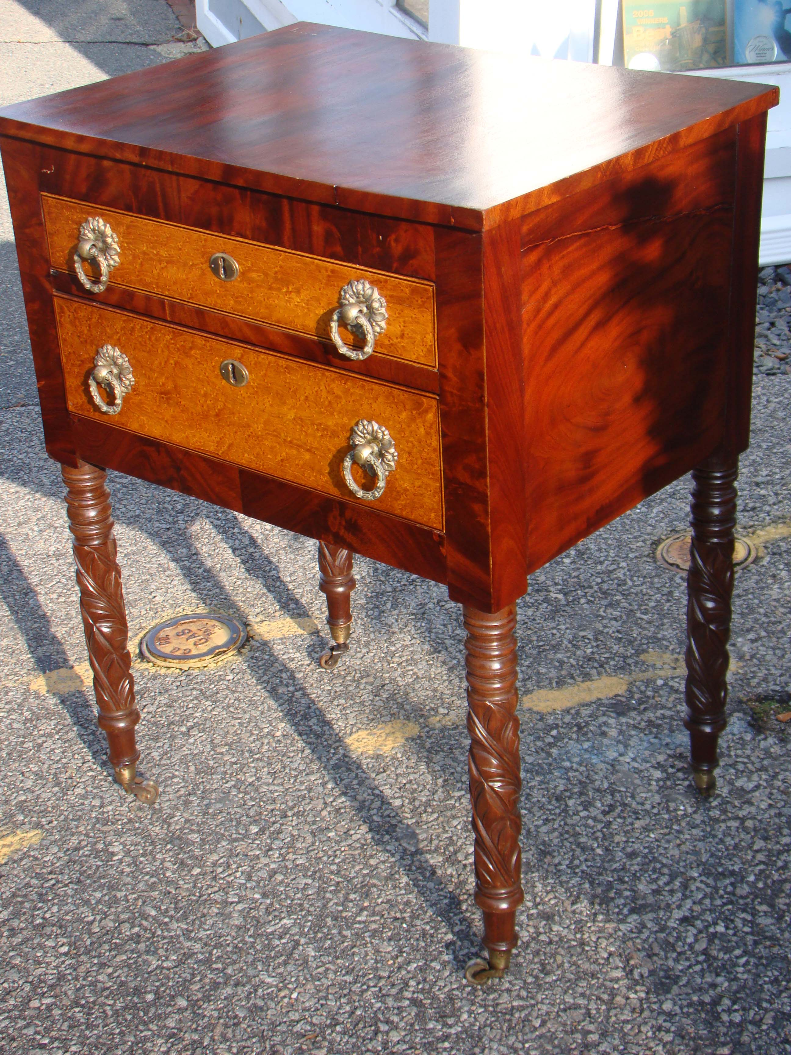 click to view larger image of A fine Sheraton two-drawer stand circa 1825